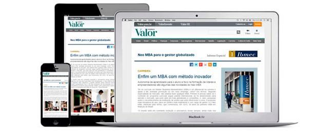 Publieditorial em forma de hotsite para lançamento do Neo MBA IBMEC no Jornal online Valor Econômico.